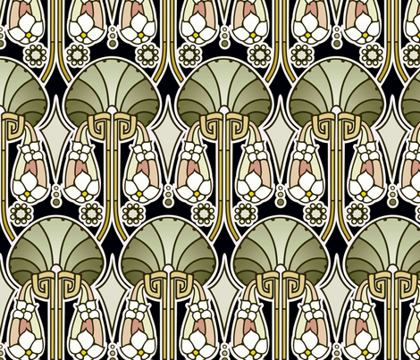 Art Deco abstract, mellow green fabric by hannafate on Spoonflower - custom fabric