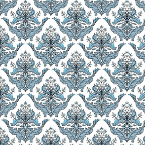 Classic floral damask pattern in blue and white