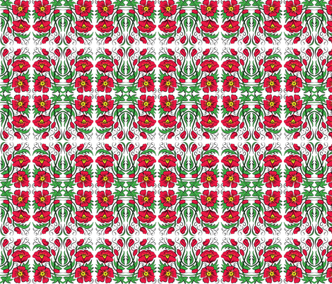 Mirrored Poppy fabric by dianne_annelli on Spoonflower - custom fabric