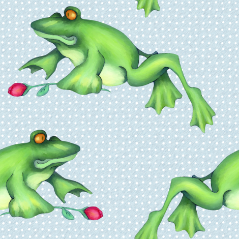 Froggy Love Leap white dots on blue fabric by floating_lemons on Spoonflower - custom fabric