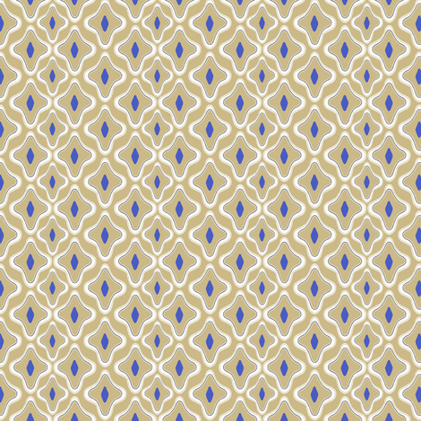 Ogee Trellis  Khaki Blue fabric by lulabelle on Spoonflower - custom fabric