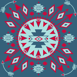 Navajo Arrows -- Denim background w. lt aqua