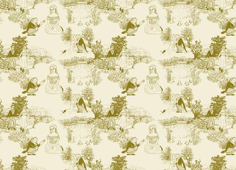 The Frog Prince Fairytale Toile Petite fabric by bloomingwyldeiris on Spoonflower - custom fabric