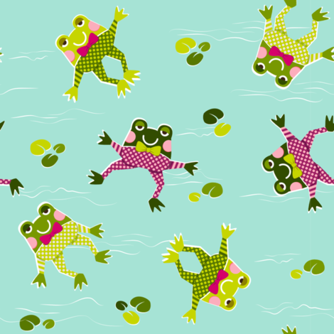 Froggy Swim-swim fabric by pinky_wittingslow on Spoonflower - custom fabric