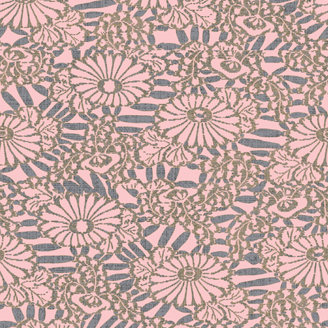 Daisy Bouquette - purple, tangerine-ch fabric by materialsgirl on Spoonflower - custom fabric