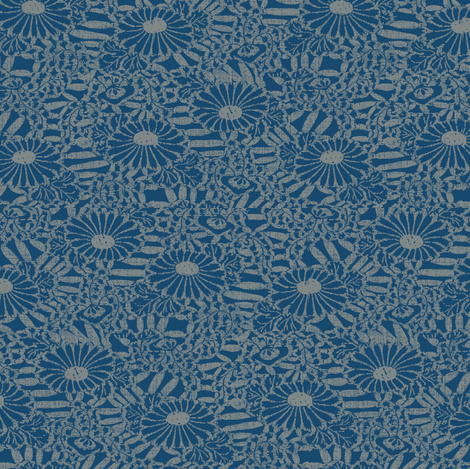 Daisy Bouquette - blue, gray fabric by materialsgirl on Spoonflower - custom fabric