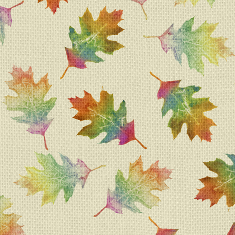 rainbow oak leaves (small leaves) fabric by weavingmajor on Spoonflower - custom fabric