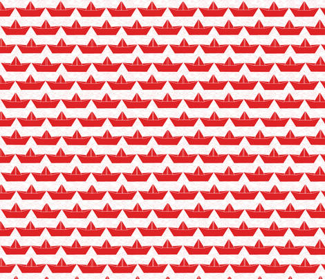 paper_boat_rouge_bord_blanc_M fabric by nadja_petremand on Spoonflower - custom fabric