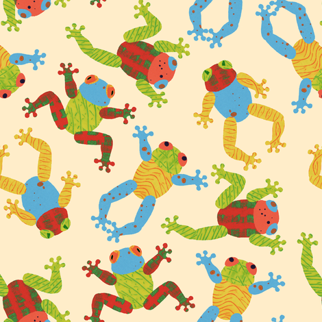 Jumping Frogs fabric by louisehenderson on Spoonflower - custom fabric