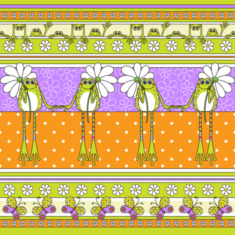Froggies 'n' Daizies fabric by koulendroslifestyles on Spoonflower - custom fabric