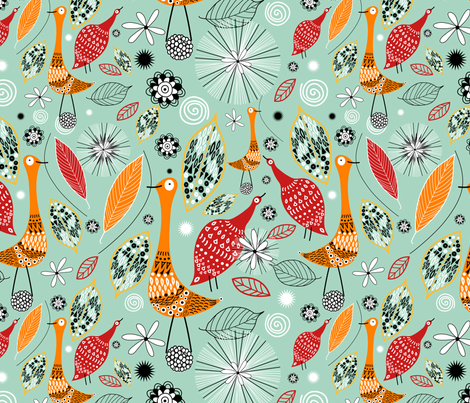 birds and leaves fabric by tanor on Spoonflower - custom fabric