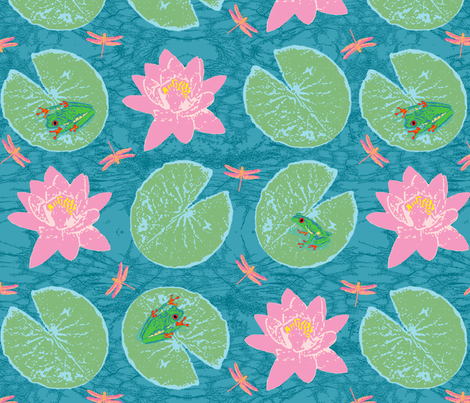 frog + lily (large-scale) fabric by pattyryboltdesigns on Spoonflower - custom fabric