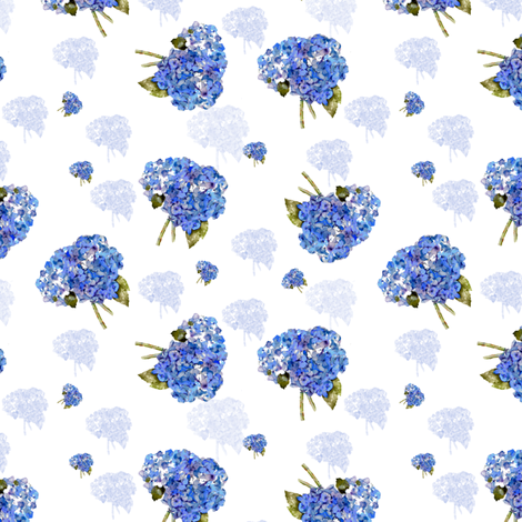 Whispers of Hydrangea Nosegays fabric by karenharveycox on Spoonflower - custom fabric
