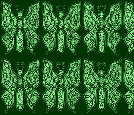ButterflyDancer - xl - deep fir & mint green reverse fabric by celttangler on Spoonflower - custom fabric