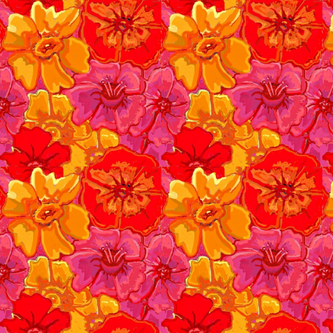 yellow daffodils and poppy flowers fabric by dk_designs on Spoonflower - custom fabric