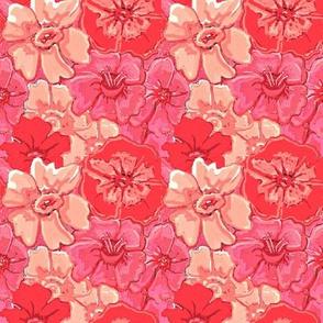 peach daffodils and poppy flowers-ed