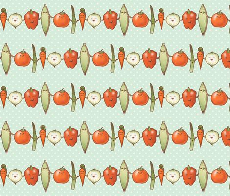 Vege friends at the farmer's market fabric by estrojenn on Spoonflower - custom fabric