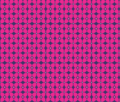 Mod Flora {Navy/Hot Pink} fabric by printablegirl on Spoonflower - custom fabric
