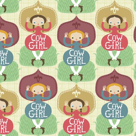 cow-girl fabric by gaiamarfurt on Spoonflower - custom fabric