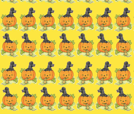 halloween_pumpkin_with_poodle fabric by dogdaze_ on Spoonflower - custom fabric