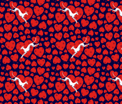 Hearts and Greyhounds © 2014 by Jane Walker fabric by artbyjanewalker on Spoonflower - custom fabric
