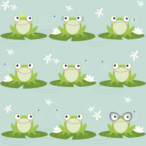 Frogs, Flies and Flowers fabric by xuxupetals on Spoonflower - custom fabric