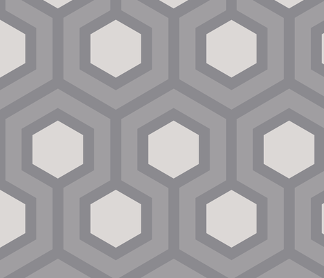 Gray Honeycomb Geo 5 fabric by mariafaithgarcia on Spoonflower - custom fabric