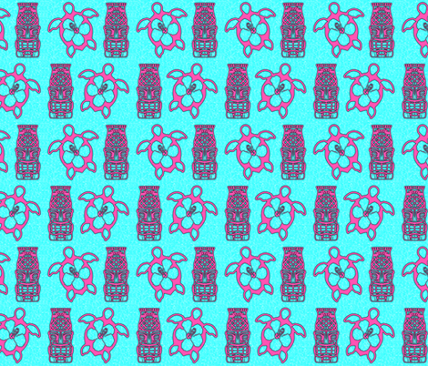 Honu And Tiki Mask fabric by macdonaldcreativestudios on Spoonflower - custom fabric