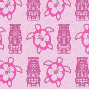 Pink Honu And Tiki Mask