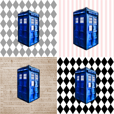 Police Box Cheater Quilt Blocks fabric by bohobear on Spoonflower - custom fabric