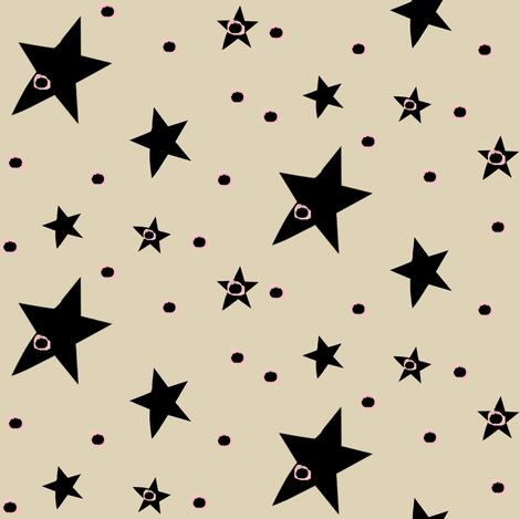 Cream Cappuccino with Black Stars & Dots fabric by bohobear on Spoonflower - custom fabric