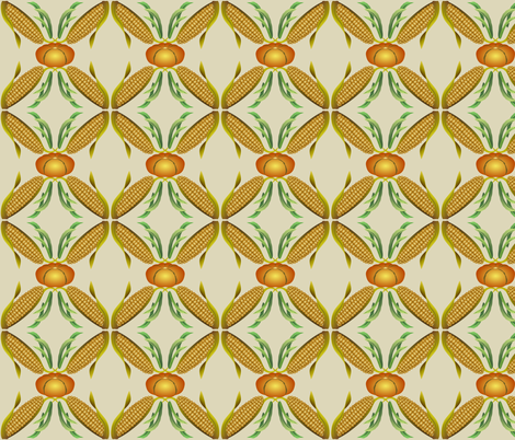 Maize, Beans and Squash - The Three Sisters - Beige fabric by anderson_designs on Spoonflower - custom fabric