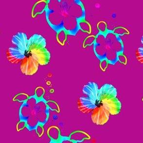 Tropical Honu And Hibiscus