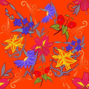 Colorful flowers on orange