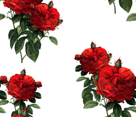 Redoute' Roses ~ Riot of Red Jumble fabric by peacoquettedesigns on Spoonflower - custom fabric