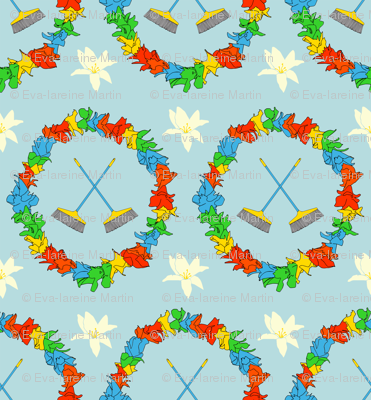 Broom pattern fabric evapatterndesign spoonflower for Space fabric nz