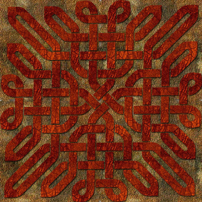Red Brown Leather Look Celtic Knot