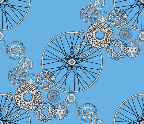 Beautiful bicycle parts and blue skies fabric by victorialasher on Spoonflower - custom fabric