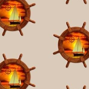 Ship Wheel Sunset