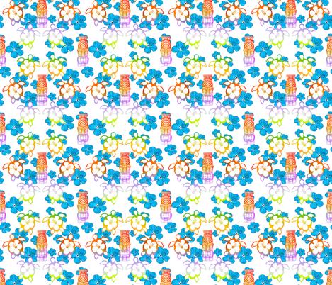 Tropical Honu And Tiki Mask fabric by macdonaldcreativestudios on Spoonflower - custom fabric
