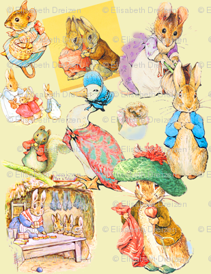Beatrix Potter Pastiche in Strawberry Deep and Sun Down