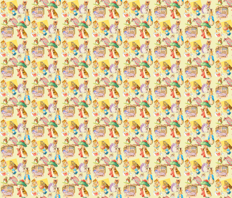 Beatrix Potter Pastiche in Strawberry Deep and Sun Down fabric by artland95 on Spoonflower - custom fabric