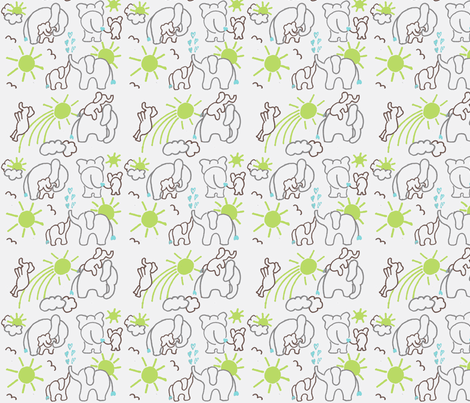 You Are My Sunshine Elephants in Brown Grey and Green SMALL SCALE fabric by kbexquisites on Spoonflower - custom fabric
