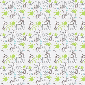 You Are My Sunshine Elephants in Brown Grey and Green SMALL SCALE