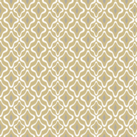 Ogee Trellis Khaki Gray fabric by lulabelle on Spoonflower - custom fabric