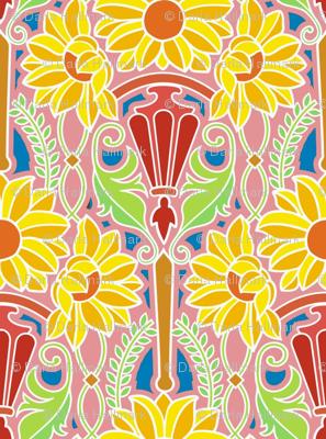 Art Nouveau sunflowers, bright