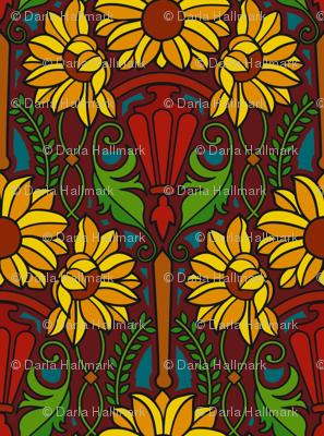 Art Nouveau sunflowers, dark