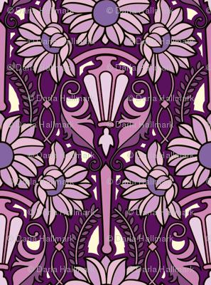 Art Nouveau sunflowers, purples