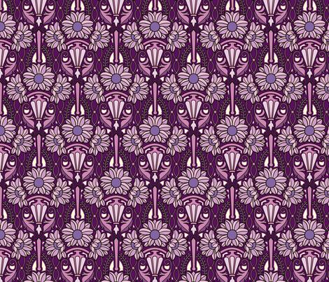 Art Nouveau sunflowers, purples fabric by hannafate on Spoonflower - custom fabric
