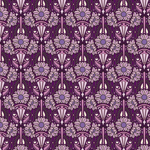 Art Nouveau sunflowers, purples